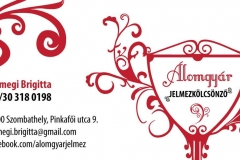 Sümegi Brigitta jelmezkölcsönző névjegykártyája