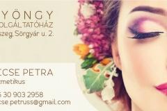 Gecse Petra kozmetikus névjegykártyája